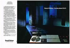 Publicité Advertising 1982 (2 pages) Chaine Hi-Fi platine Bang & Olufsen