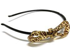 Leopard Animal Print Bow Ribbon Plastic Light Headband Hair Band UK Shop