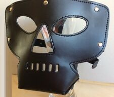 Faux Leather Bondage Restraints Open Mouth Nose Head Hood, Halloween Party Mask