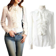 Womens Long Sleeve Lace Collar Ruffle Chiffon Slim OL Shirt Top Blouse White L