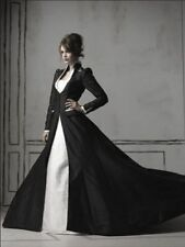 Gothic Wedding Dress Sweetheart White And Black Wedding Dresses A Line With Coat