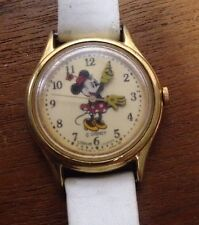 Lorus Minnie Mouse V515-6080 Analog Watch White Genuine Leather Band *FOR PARTS