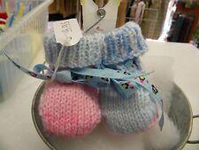 abc broons chausson bébé bleu rose chiné modele unique neuf layette tricot m13