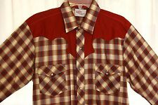 *VINTAGE ROCKABILLY PLAID PEARL SNAP WESTERN COWBOY HANK  SHIRT LG LONG TAIL