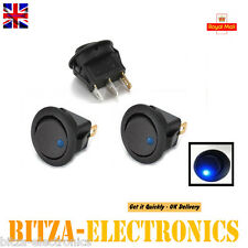 2x blue 12V led dot auto voiture bateau ronde rocker on-off interrupteur à bascule vendeur britannique