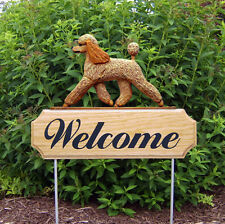 Poodle Dog Breed Oak Wood Welcome Outdoor Yard Sign Apricot