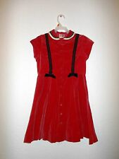 Vintage 1970s Red Velveteen Dress for Girls size 4-5