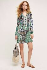 NWT SZ MP $148 ANTHROPOLOGIE CAVIANA SHIRTDRESS BY TINY - GREEN MOTIF DRESS