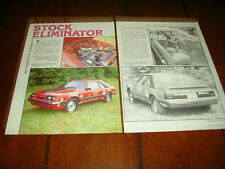 1985 FORD MUSTANG 5.0 STOCK ELIMINATOR RACE CAR  ***ORIGINAL 1987 ARTICLE***