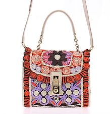 NWT $3000 DOLCE & GABBANA MISS BONITA Raffia Hand Shoulder Padlock Bag Purse