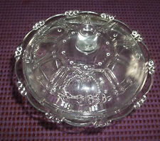 KIG Indonesia Candlewick Beaded Clear Glass Candy Dish with Lid