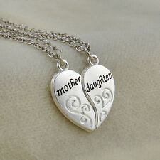 2PC/Set Elegant Silver Mother Daughter Flower Women Chain Pendant Necklace Gift