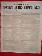 JOURNAL LE MONITEUR DES COMMUNES MINISTERE D'ETAT N°12 - 20 MARS 1868