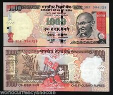 INDIA 1000 RUPEES P100 2008 GANDHI OIL RIG UNC INDIAN CURRENCY MONEY BILL NOTE