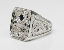 Custom Made Fancy Ace Of Space Synthetic Sapphire White .925 Silver Men's Ring