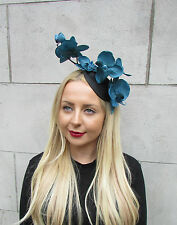 Black Teal Blue Orchid Flower Fascinator Hat Statement Headpiece Races Vtg 2318
