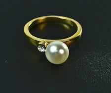 Señoras Oro Anillo De Perla incrustado Diamante Nuevo única declaración (Zx7)