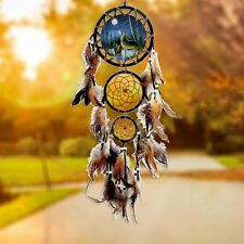 Handmade Dream Catcher With Feathers Wall Hanging Decoration Ornament Gift-Wolf