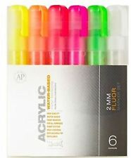 MONTANA CANS ACRYLIC MARKER PEN SET - 2mm FINE MARKERS - 6 PACK - FLOURESCENT