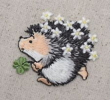 Iron-On Applique Embroidered Patch Hedgehog with Clover and Daisy Flowers