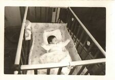 Antique Vintage Photograph Adorable Little Baby Sleeping in Crib