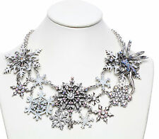 KIRKS FOLLY POLAR EXPRESS DELPHINE FAIRY SNOWFLAKE NECKLACE SILVERTONE