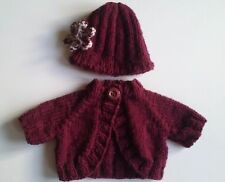 "DOLL CLOTHES 18"" KNITTING PATTERN BOLERO PLUS HAT WITH CROCHET FLOWER"