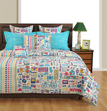 Swayam Blue and White Colour Text Print Double Bed Sheet with Pillow Covers