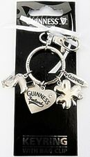 Guinness Shamrock diamante charm keyring with bag clip (sg 2775)