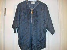 ladies zipped batwing  navy lace look top  size s/m  14/16  bnwot