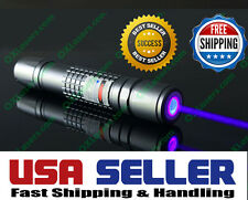 High Power 450nm Blue Laser Pointer Pen Military Focusable Beam Burn Visible