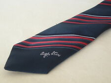 VINTAGE Angelo Litrico Tie-Dark Blue & Red & White Strisce Diagonali-FIRMATO