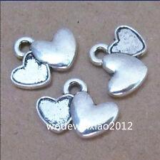 20pc Tibetan Silver Heart to Heart Pendant Charms Accessories Wholesale PL230