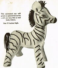 Vintage 1940s 'rag bag' zebra toy sewing pattern-repro- full size paper pieces