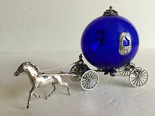 "Sterling Silver Cobalt Glass 7"" Pumpkin Cinderella Carriage Coach Horse Figurine"