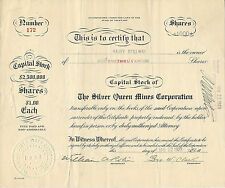 ARIZONA? 1923, The Silver Queen Mines Corp Stock Certificate