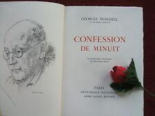 GEORGES DUHAMEL :  CONFESSION DE MINUIT ..1950 (litho originale  : BETHOLD MANN