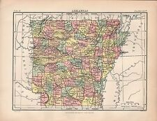 1880 ca ANTIQUE STATE MAP-USA-ARKANSAS