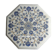 """12"""" White Marble Side Coffee Table Top Lapis Mosaic Floral Ornate Inlay Art H182"""