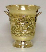 """Embossed Brass Wine Cooler 9.5"""" Ice Bucket  Decorative Vase Flower Arrangement"""