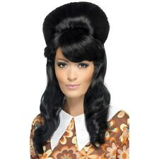 Women's 60's Brigitte Bouffant Wig Black Hen Model Big Hair Rock Hippy Mod Girl