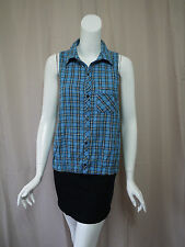 Free People Anthropologie Blue Plaid Sleeveless Blouse Top size M