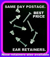 5+1 Free Clear Ear/Lip Retainer Stud & Backs, Plugs, Plastic Flat top 2.7mm Dia.