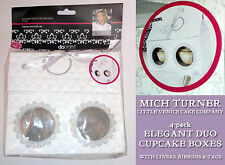 Mich Turner 4 ELEGANT DUO TWIN CUPCAKE BOX Ribbon Tag WHITE DAMASK Little Venice