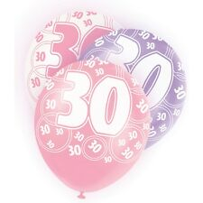 "6 Pink Sparkle Happy 30th Birthday 12"" Pearlized Printed Latex Balloons"