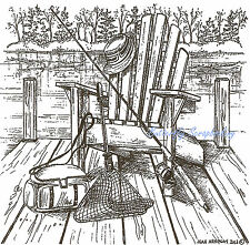 Chair On Dock & Fishing Gear, Wood Mounted Rubber Stamp NORTHWOODS - NEW, PP9106
