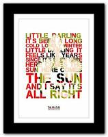 THE BEATLES - Here Comes The Sun  ❤ song lyrics typography poster art prints