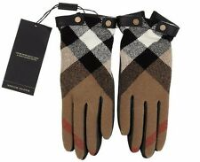 NEW BURBERRY BLACK LEATHER CHECK WOOL CASHMERE LINING TOUCH SCREEN GLOVES 7.5