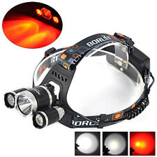 Boruit 6000LM 3x XM-L T6+2R2 Red LED Rechargeable 18650 Headlamp Headlight Torch