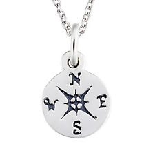 """Navigation Compass Keep Direction Medal Pendant 18"""" Necklace 925 Sterling Silver"""